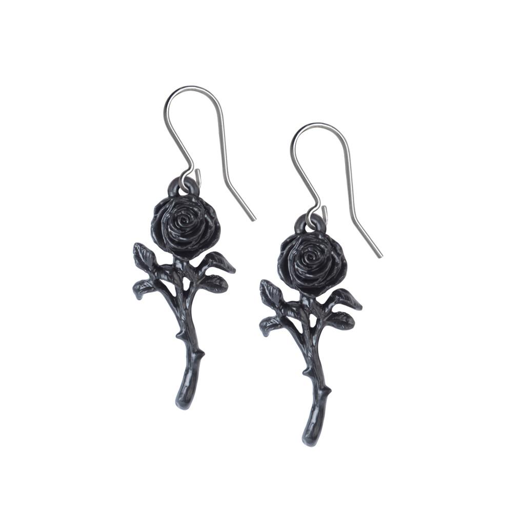 E421 - The Romance of the Black Rose Earrings