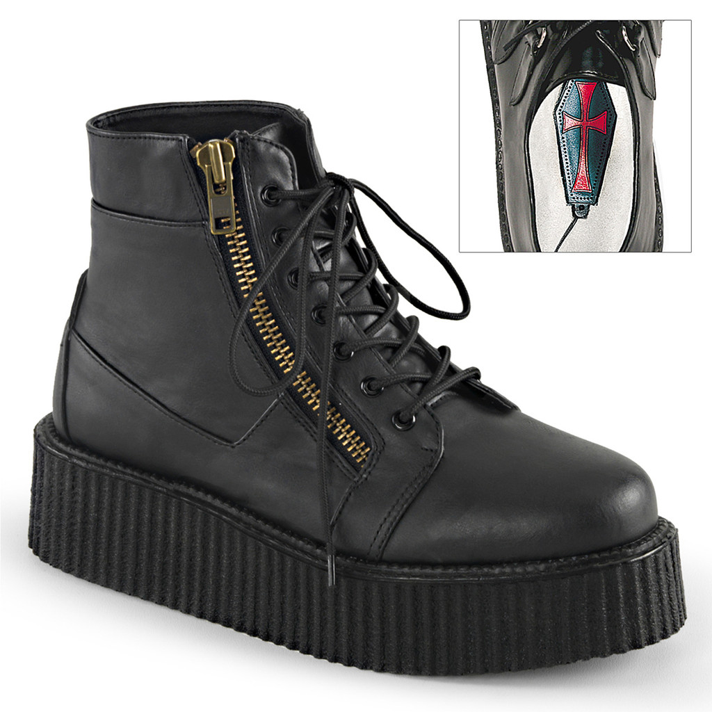 V-CRE571/BVL - Demonia V-Creeper 571 Black Vegan Leather
