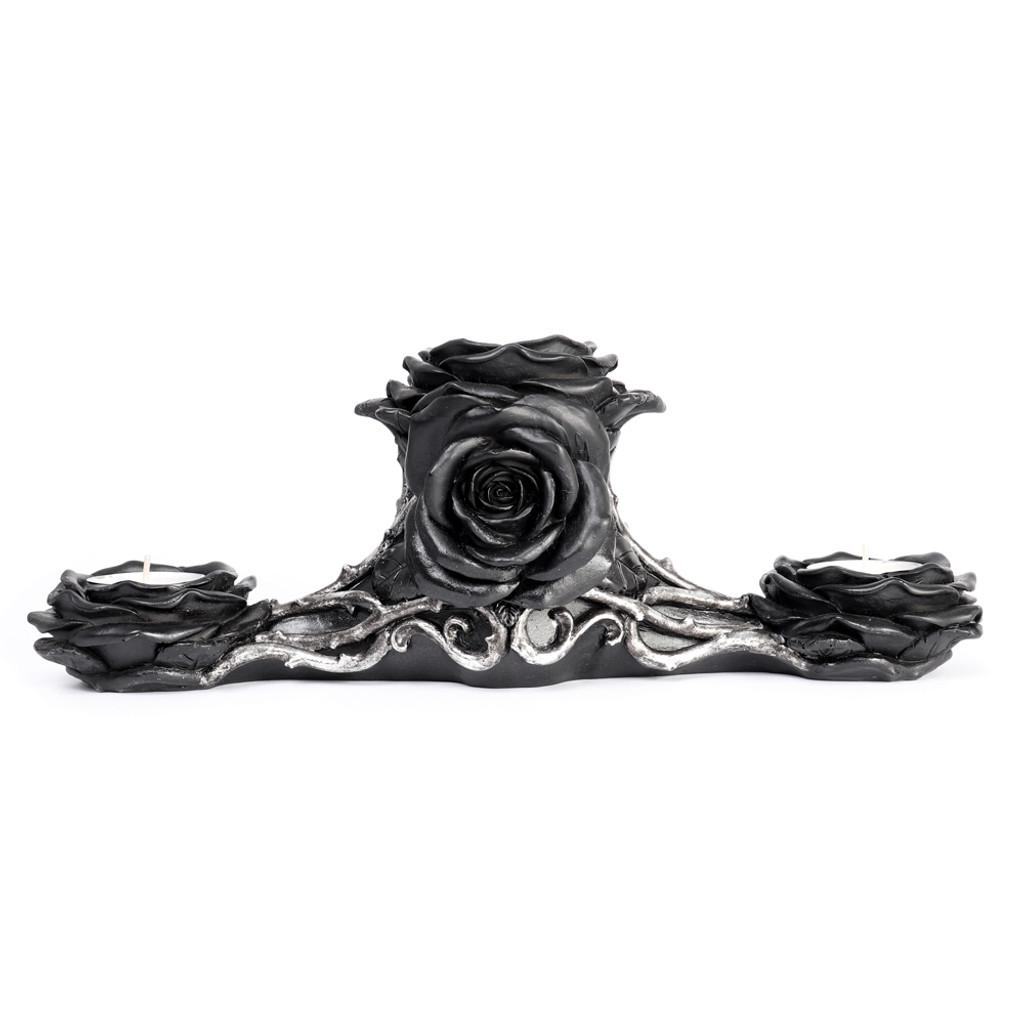 V96- Black Rose Triple T-Light Holder