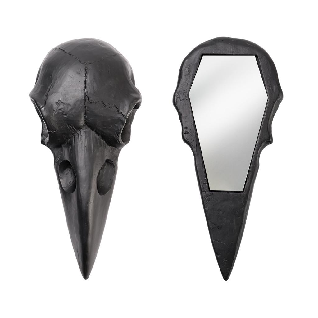 V99B - Raven Skull Hand Mirror-Black