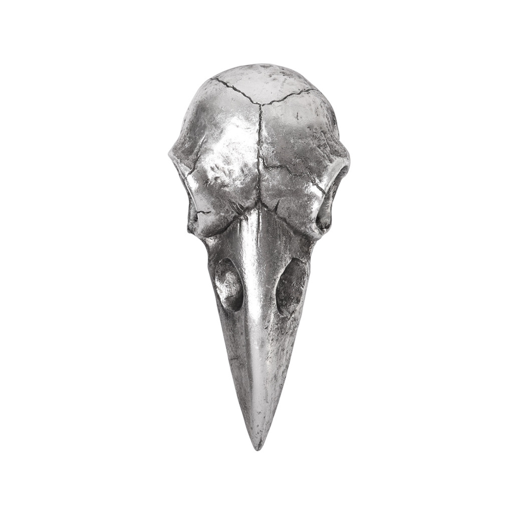 V99S - Raven Skull Hand Mirror - Antique Silver