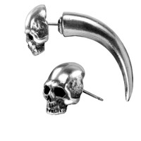 E320 - Tomb Skull Horn Earring