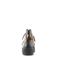 V-CRE571/BVL-TPFR - Demonia V-Creeper 571 Black Vegan Leather with Tiger Print Faux Fur