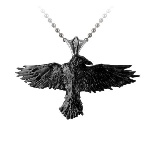 P193 - Black Raven Pendant