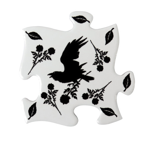 CJ5 - Black Raven & Rose Coaster Set