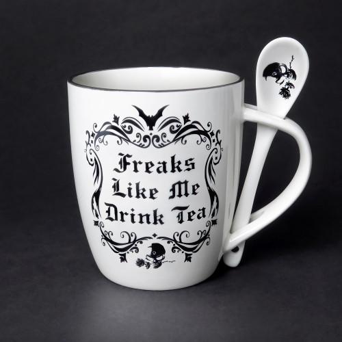 ALMUG19 - Freaks Like Me Drink Tea Cup and Spoon