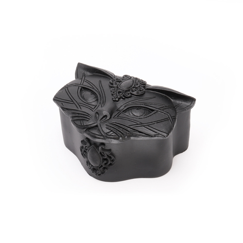 V78B - Sacred Cat Trinket Box (Black)