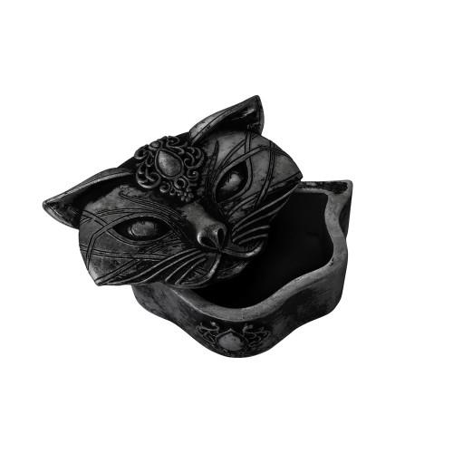 V78B - Sacred Cat Trinket Box (Black)