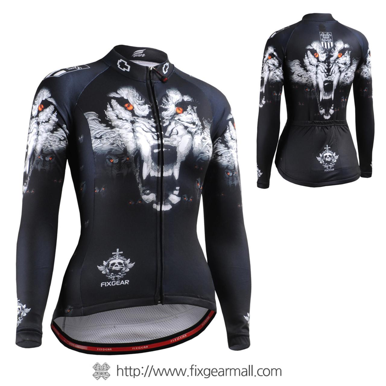 FIXGEAR womens cycling jersey skull longsleeve