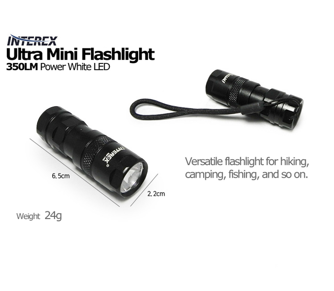 New INTEREX 350LM White Power LED Ultra Mini Flashlight Black