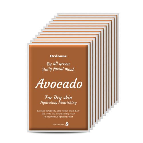 Ordonne By All Green Daily Facial TENCEL Sheet Mask 12EA - Avocado