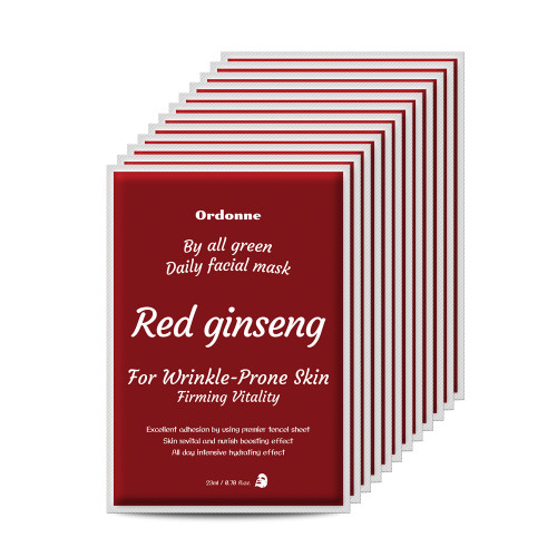 Ordonne By All Green Daily Facial TENCEL Sheet Mask 12EA - Red ginseng