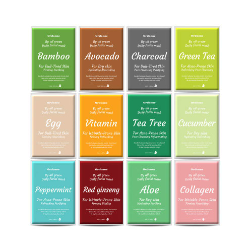 Ordonne By All Green Daily Facial TENCEL Sheet Mask 12EA - 12 kinds