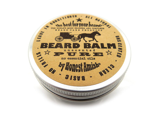 Honest Amish PURE Fragrance Free Beard Balm All Natural 2 Ounce