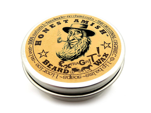 Honest Amish Extra Grit Beard Wax Natural and Organic Hair Paste and Hair Control Wax 2 ounce