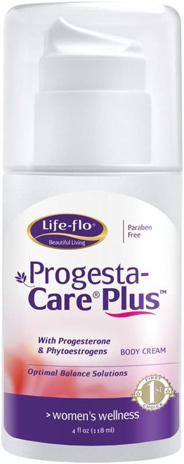 Life-Flo Progesta-Care Plus with Natural Progesterone USP & Phytoestrogens, Physician-Developed Body Cream for Optimal Balance, 4-oz Pump