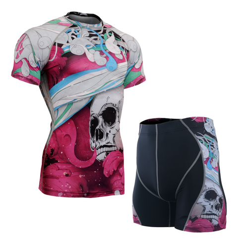 FIXGEAR CFS/P2S-B19P Compression Base Layer Short Sleeve Shirt/drawers Set