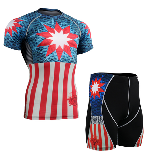 FIXGEAR CFS/P2S-B37 Compression Base Layer Short Sleeve Shirt/drawers Set