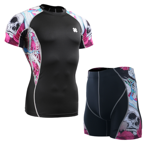 FIXGEAR C2S/P2S-B19P Compression Short Sleeve Shirt/Shorts Set