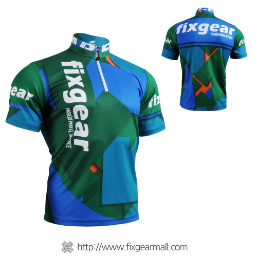 FIXGEAR BM-51B2 Casual Mens short sleeve jersey 1/4 zip-up T-shirt