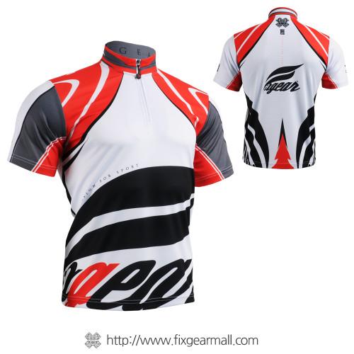 FIXGEAR BM-3602 Casual Mens short sleeve jersey 1/4 zip-up T-shirt