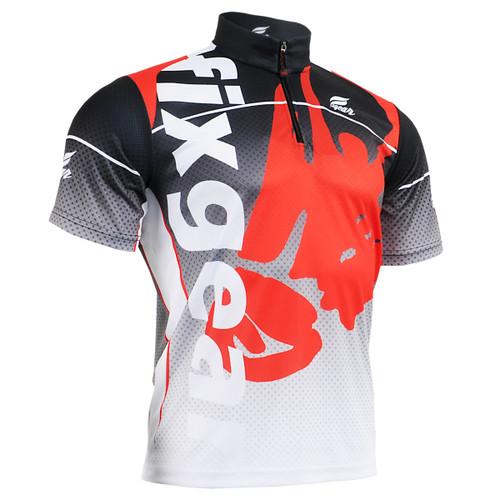 FIXGEAR BM-5002 Casual Mens short sleeve jersey 1/4 zip-up T-shirt Front