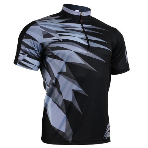 FIXGEAR BM-5902 Casual Mens short sleeve jersey 1/4 zip-up T-shirt Front