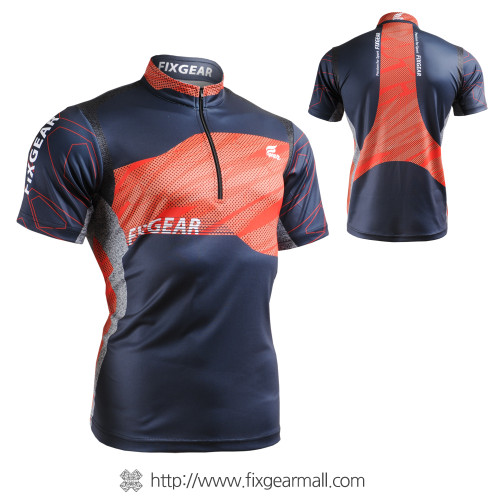 FIXGEAR BM-7502 Casual Mens short sleeve jersey 1/4 zip-up T-shirt