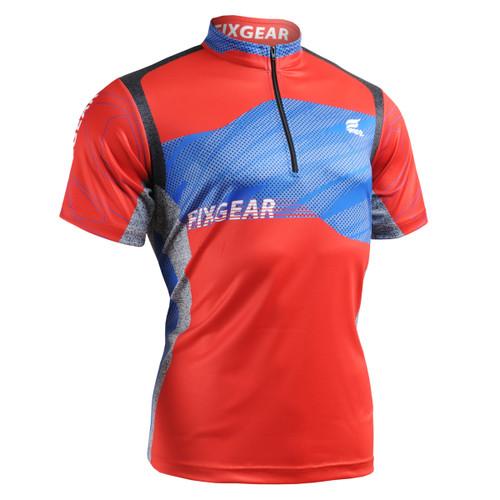 FIXGEAR BM-75R2 Casual Mens short sleeve jersey 1/4 zip-up T-shirt front