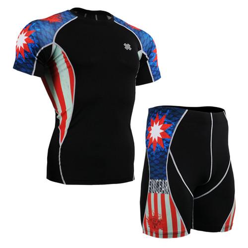FIXGEAR C2S/P2S-B37 Compression Short Sleeve Shirts/Shorts Set