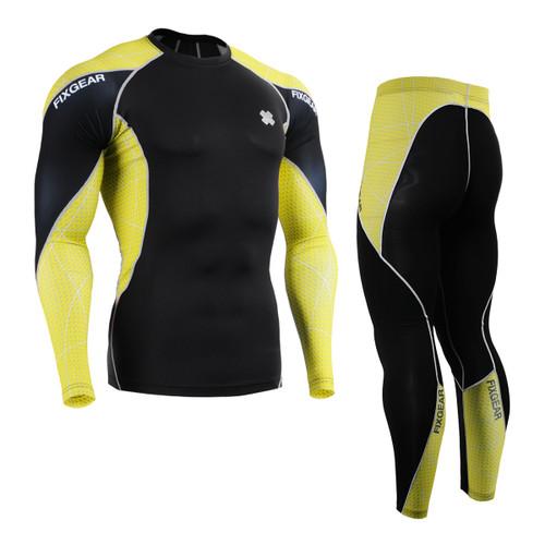 FIXGEAR C3L/P2L-B70Y Compression Short Sleeve Shirts/Shorts Set