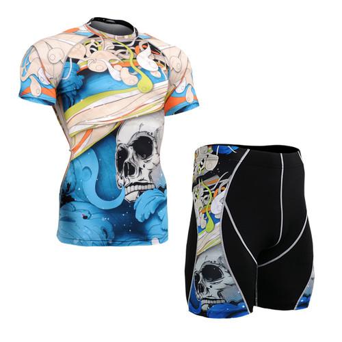 FIXGEAR CFS/P2S-B19B Compression Base Layer Short Sleeve Shirt/drawers Set