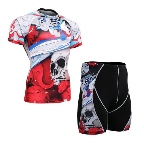 FIXGEAR CFS/P2S-B19R Compression Base Layer Short Sleeve Shirt/drawers Set