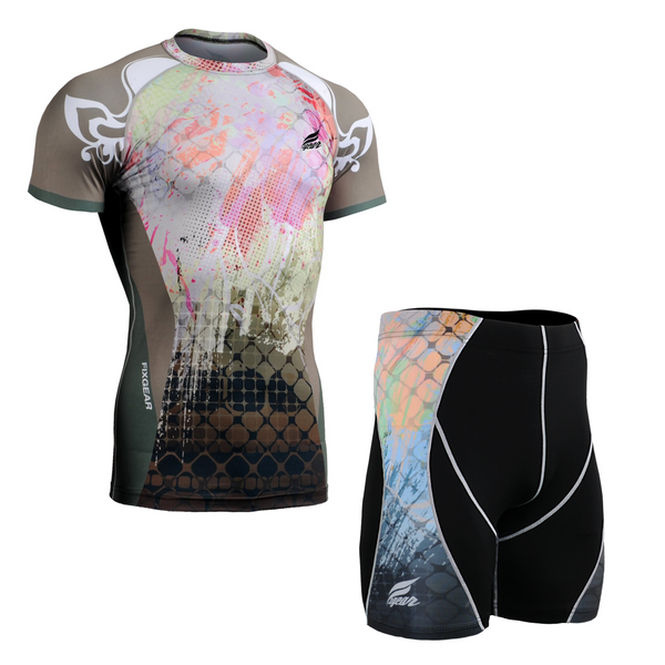 FIXGEAR CFS/P2S-B42 Compression Base Layer Short Sleeve Shirt/drawers Set