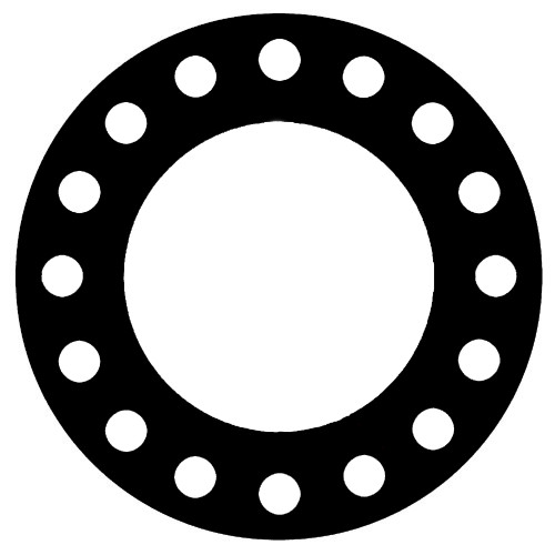 NSF-61 Certified EPDM, Full Face Gasket, Pipe Size: 10(10) Inches (25.4Cm), Thickness: 1/16(0.062) Inches (1.5748mm), Pressure Tolerance: 300psi, Inner Diameter: 10 3/4(10.75)Inches (27.305Cm), Outer Diameter: 17 1/2(17.5)Inches (44.45Cm), With 16 - 1 1/8(1.125) (2.8575Cm) Bolt Holes, Part Number: CFF384-04.1000.062.300