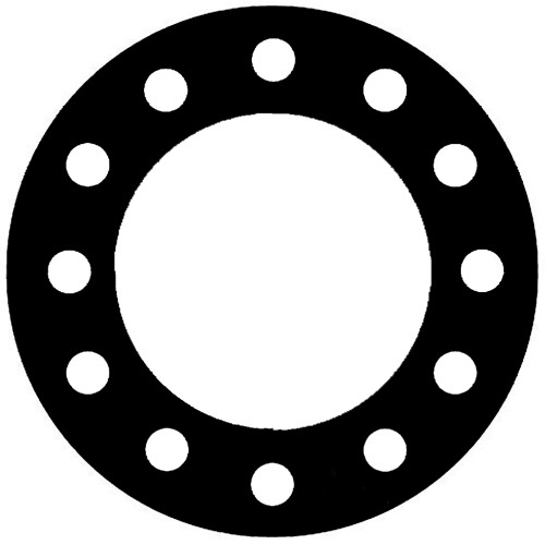 NSF-61 Certified EPDM, Full Face Gasket, Pipe Size: 10(10) Inches (25.4Cm), Thickness: 1/8(0.125) Inches (3.175mm), Pressure Tolerance: 150psi, Inner Diameter: 10 3/4(10.75)Inches (27.305Cm), Outer Diameter: 16(16)Inches (40.64Cm), With 12 - 1(1) (2.54Cm) Bolt Holes, Part Number: CFF384-08.1000.125.150