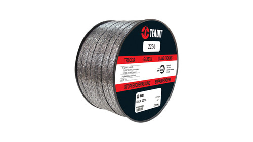 Teadit Style 2236 Graphite Foil with Inconel Wire Jacket Packing,  Width: 1/8 (0.125) Inches (3.175mm), Quantity by Weight: 5 lb. (2.25Kg.) Spool, Part Number: 2236.125X5