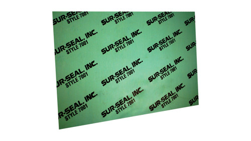 7001 Green Aramid Fibers/NBR Non-Asbestos Compressed Sheet, Dimensions: Length: 29.5 Inches (74.93Cm), Width: 29.5 Inches (74.93Cm), Thickness: 1/64(0.015625) Inches (0.0396875Cm) Part Number: GS700101530X30