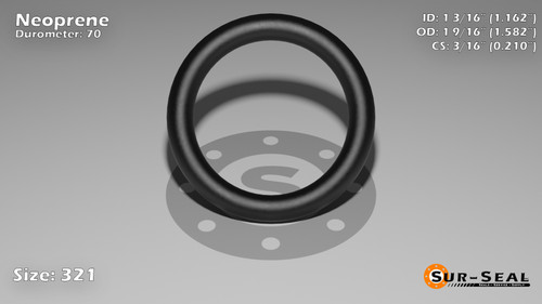 O-Ring, Black Neoprene Size: 321, Durometer: 70 Nominal Dimensions: Inner Diameter: 1 6/37(1.162) Inches (2.95148Cm), Outer Diameter: 1 39/67(1.582) Inches (4.01828Cm), Cross Section: 17/81(0.21) Inches (5.33mm) Part Number: OR70BLKNEO321