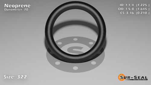 O-Ring, Black Neoprene Size: 322, Durometer: 70 Nominal Dimensions: Inner Diameter: 1 9/40(1.225) Inches (3.1115Cm), Outer Diameter: 1 20/31(1.645) Inches (4.1783Cm), Cross Section: 17/81(0.21) Inches (5.33mm) Part Number: OR70BLKNEO322
