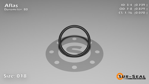O-Ring, Black Aflas Size: 018, Durometer: 80 Nominal Dimensions: Inner Diameter: 17/23(0.739) Inches (1.87706Cm), Outer Diameter: 29/33(0.879) Inches (2.23266Cm), Cross Section: 4/57(0.07) Inches (1.78mm) Part Number: OR80AFL018