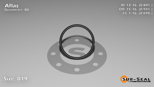 O-Ring, Black Aflas Size: 019, Durometer: 80 Nominal Dimensions: Inner Diameter: 4/5(0.801) Inches (2.03454Cm), Outer Diameter: 16/17(0.941) Inches (2.39014Cm), Cross Section: 4/57(0.07) Inches (1.78mm) Part Number: OR80AFL019