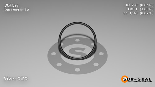 O-Ring, Black Aflas Size: 020, Durometer: 80 Nominal Dimensions: Inner Diameter: 19/22(0.864) Inches (2.19456Cm), Outer Diameter: 1(1.004) Inches (2.55016Cm), Cross Section: 4/57(0.07) Inches (1.78mm) Part Number: OR80AFL020