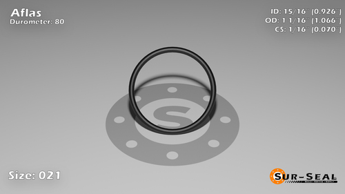 O-Ring, Black Aflas Size: 021, Durometer: 80 Nominal Dimensions: Inner Diameter: 25/27(0.926) Inches (2.35204Cm), Outer Diameter: 1 6/91(1.066) Inches (2.70764Cm), Cross Section: 4/57(0.07) Inches (1.78mm) Part Number: OR80AFL021