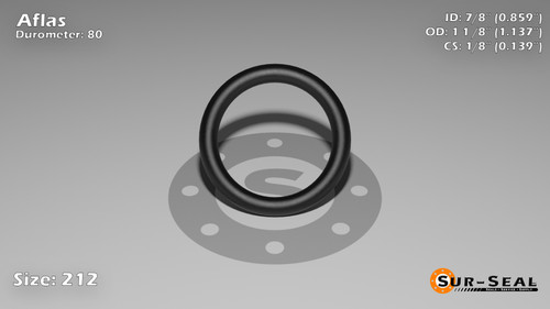 O-Ring, Black Aflas Size: 212, Durometer: 80 Nominal Dimensions: Inner Diameter: 67/78(0.859) Inches (2.18186Cm), Outer Diameter: 1 10/73(1.137) Inches (2.88798Cm), Cross Section: 5/36(0.139) Inches (3.53mm) Part Number: OR80AFL212