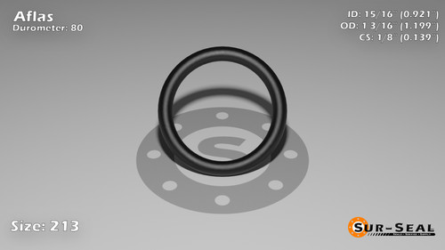 O-Ring, Black Aflas Size: 213, Durometer: 80 Nominal Dimensions: Inner Diameter: 35/38(0.921) Inches (2.33934Cm), Outer Diameter: 1 1/5(1.199) Inches (3.04546Cm), Cross Section: 5/36(0.139) Inches (3.53mm) Part Number: OR80AFL213