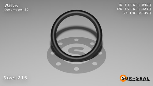 O-Ring, Black Aflas Size: 215, Durometer: 80 Nominal Dimensions: Inner Diameter: 1 4/87(1.046) Inches (2.65684Cm), Outer Diameter: 1 23/71(1.324) Inches (3.36296Cm), Cross Section: 5/36(0.139) Inches (3.53mm) Part Number: OR80AFL215