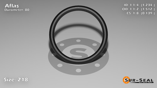 O-Ring, Black Aflas Size: 218, Durometer: 80 Nominal Dimensions: Inner Diameter: 1 11/47(1.234) Inches (3.13436Cm), Outer Diameter: 1 21/41(1.512) Inches (3.84048Cm), Cross Section: 5/36(0.139) Inches (3.53mm) Part Number: OR80AFL218