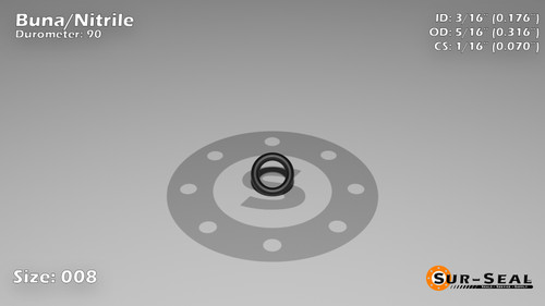 O-Ring, Black BUNA/NBR Nitrile Size: 008, Durometer: 90 Nominal Dimensions: Inner Diameter: 3/17(0.176) Inches (4.47mm), Outer Diameter: 6/19(0.316) Inches (0.316mm), Cross Section: 4/57(0.07) Inches (1.78mm) Part Number: OR90BLKBUN008
