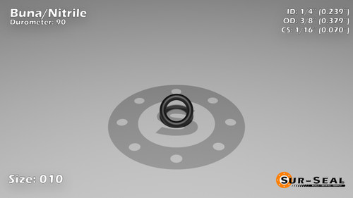 O-Ring, Black BUNA/NBR Nitrile Size: 010, Durometer: 90 Nominal Dimensions: Inner Diameter: 11/46(0.239) Inches (6.07mm), Outer Diameter: 36/95(0.379) Inches (0.379mm), Cross Section: 4/57(0.07) Inches (1.78mm) Part Number: OR90BLKBUN010